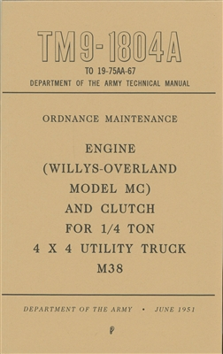 TM 9-1804A Rebuild Manual for M38 Engine and Clutch (G740)