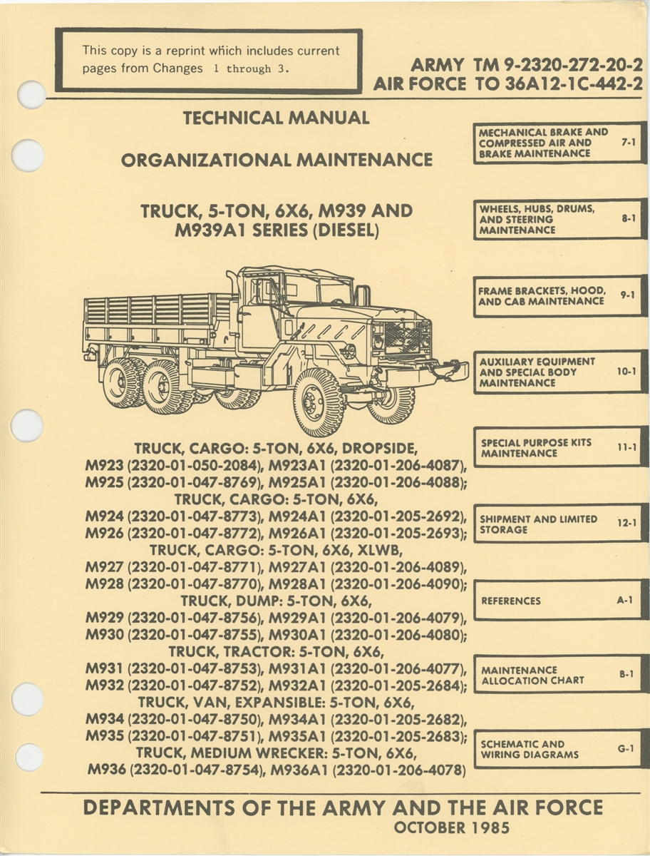 TM 9 2320 272 20 Maintenance Manual Volumes I II M939 Series 5 Ton Trucks