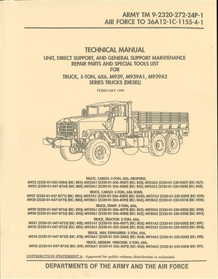 TM 9-2320-272-24P Illustrated Parts for M393A2 Series (2 Volumes) of 5 ton  Trucks