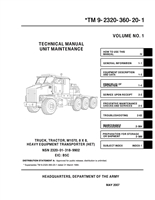 "TM 9-2320-360-20 (3 Volumes) Basic Maintenance Manual for M1070 Series ""HET"""