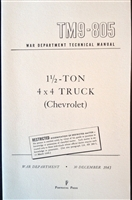 TM 9-805 Operator and Repair Manual for Chevrolet 1 1/2 Ton 4x4 Truck (G506)