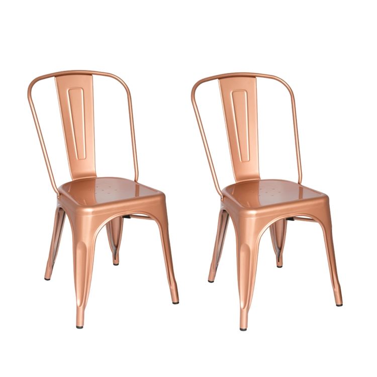 Fine Mod Imports Tolix Marais Dining Chair Set Of 2 In Copper