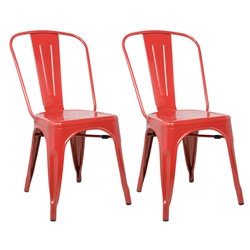 Fine Mod Imports Tolix Marais Dining Chair Set of 2 in Red