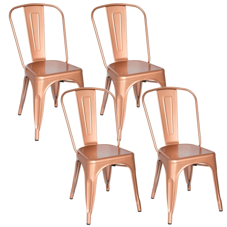 Fine Mod Imports Tolix Marais Dining Chair Set Of 4 In Copper