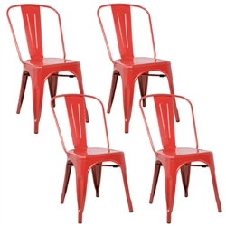 Fine Mod Imports Tolix Marais Dining Chair Set of 4 in Red