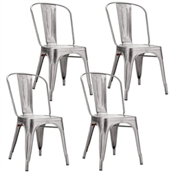 Fine Mod Imports Tolix Marais Dining Chair Set of 4 in Silver