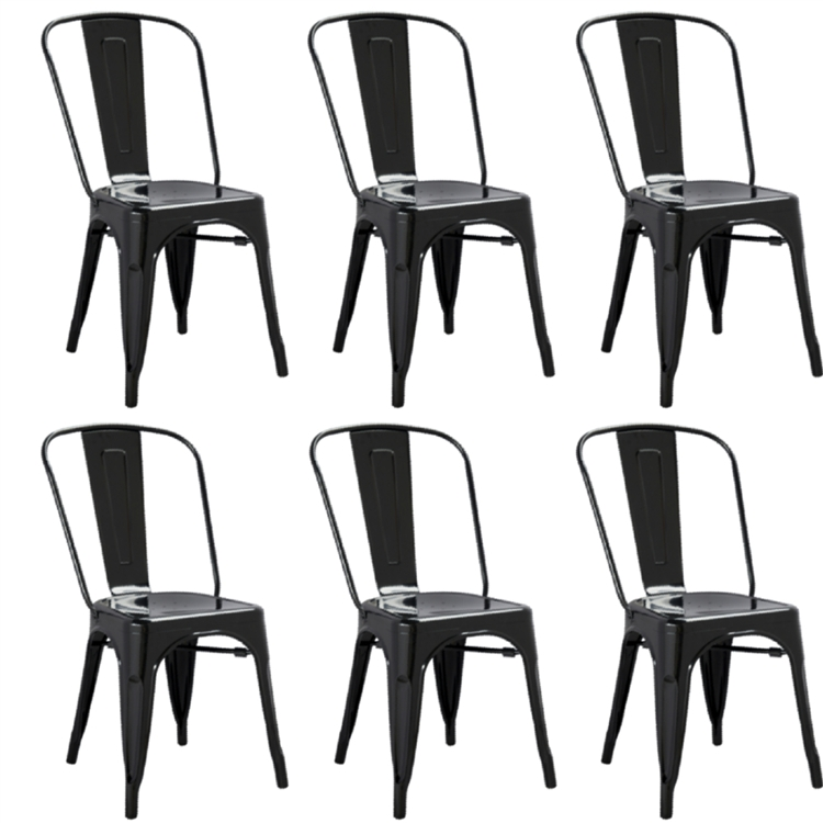 Fine Mod Imports Tolix Marais Dining Chair Set Of 6 In Black