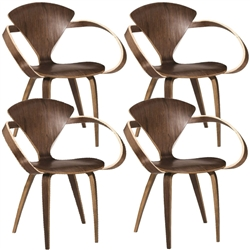Fine Mod Imports Normen Chair Modern Wooden Arm Chair Set of 4