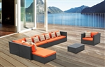 Fine Mod Imports Garden 7-Piece Outdoor Rattan, Espresso with Orange Cushion