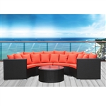 Fine Mod Imports Roundano Outdoor Sofa, Orange Cushions