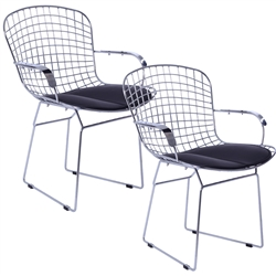 Fine Mod Imports Bertoia Style Wire Arm Chair Set of 2 Chair