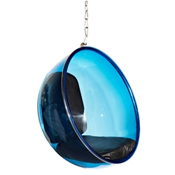 Fine Mod Imports Bubble Hanging Chair Blue Acrylic and Black Cushion