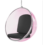 Eero Aarnio Style Bubble Hanging Chair Pink Acrylic and Black Cushion