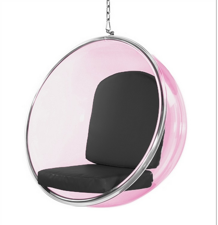 Eero Aarnio Style Bubble Hanging Chair Pink Acrylic and  : 10153 Black 2 from www.instylemodern.com size 727 x 750 jpeg 106kB