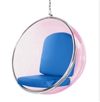 Eero Aarnio Style Bubble Hanging Chair Pink Acrylic and Blue Cushion