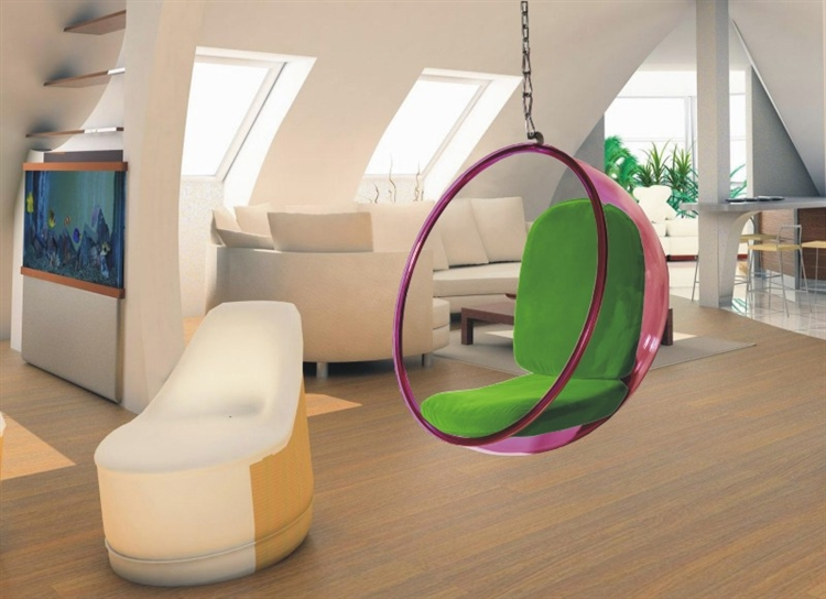 Fine Mod Imports Bubble Hanging Chair Pink Acrylic And Green Cushion