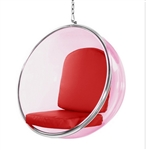 Eero Aarnio Style Bubble Hanging Chair Pink Acrylic and Red Cushion