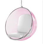 Eero Aarnio Style Bubble Hanging Chair Pink Acrylic and White Cushion