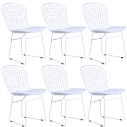Fine Mod Imports Bertoia Style Wire Side Chair in White Base Set of 6