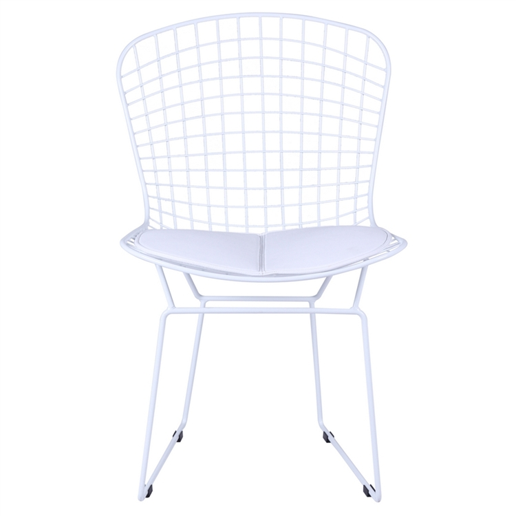 Bertoia Style Wire Side Chair in White Base