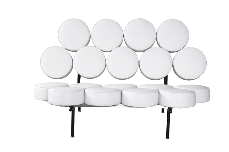 Admirable Fine Mod Imports Nelson Style Marshmallow Circle Sofa In White Leather Gmtry Best Dining Table And Chair Ideas Images Gmtryco