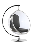 Fine Mod Imports Eero Aarnio Style Bubble Hanging Chair Black Cushion With Hanging Stand
