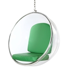 Fine Mod Imports Eero Aarnio Style Bubble Hanging Chair Green Cushion