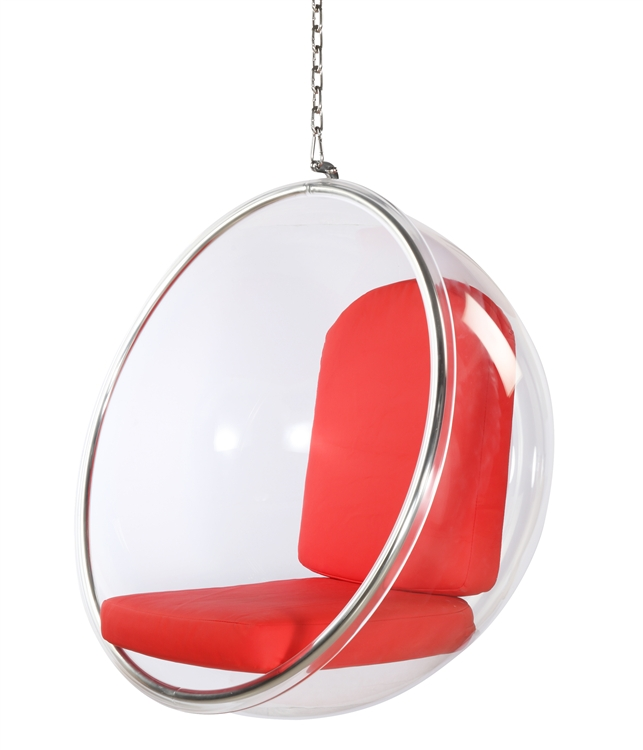 Gentil Fine Mod Imports Eero Aarnio Style Bubble Hanging Chair Red Cushion