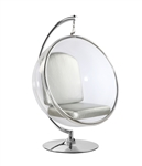 Fine Mod Imports Eero Aarnio Style Bubble Hanging Chair Silver Cushion With Hanging Stand
