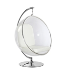 Fine Mod Imports Eero Aarnio Style Bubble Hanging Chair White Cushion With Hanging Stand