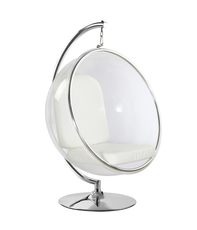 Captivating Fine Mod Imports Eero Aarnio Style Bubble Hanging Chair White Cushion With  Hanging Stand Nice Look