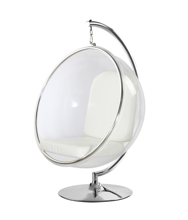 Fine Mod Imports Eero Aarnio Style Bubble Hanging Chair White ...