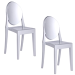 Fine Mod Imports Philippe Starck Style Victoria Ghost Chairs Set Of 2 Silver