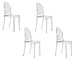 Fine Mod Imports Philippe Starck Style Victoria Ghost Chairs Set Of 4