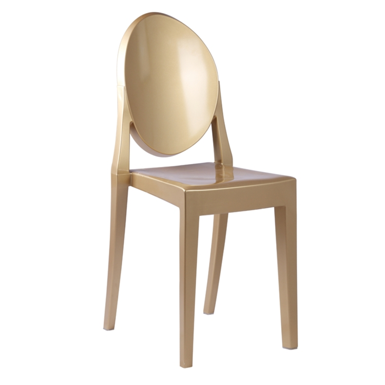 Fine Mod Imports Philippe Starck Style Victoria Ghost Chair, Gold