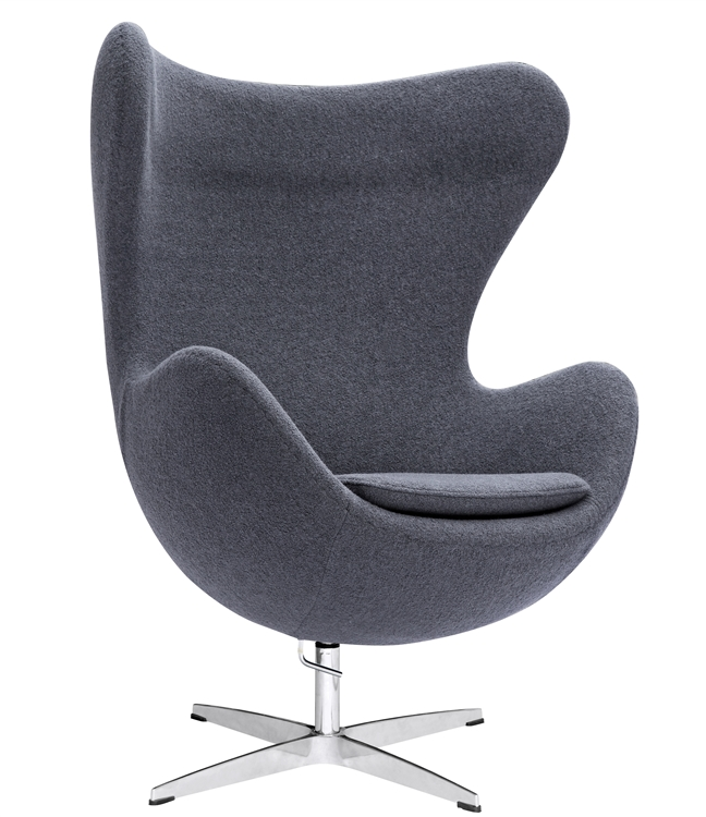 Fine Mod Imports Arne Jacobsen Egg Chair In Charcoal Gray Wool