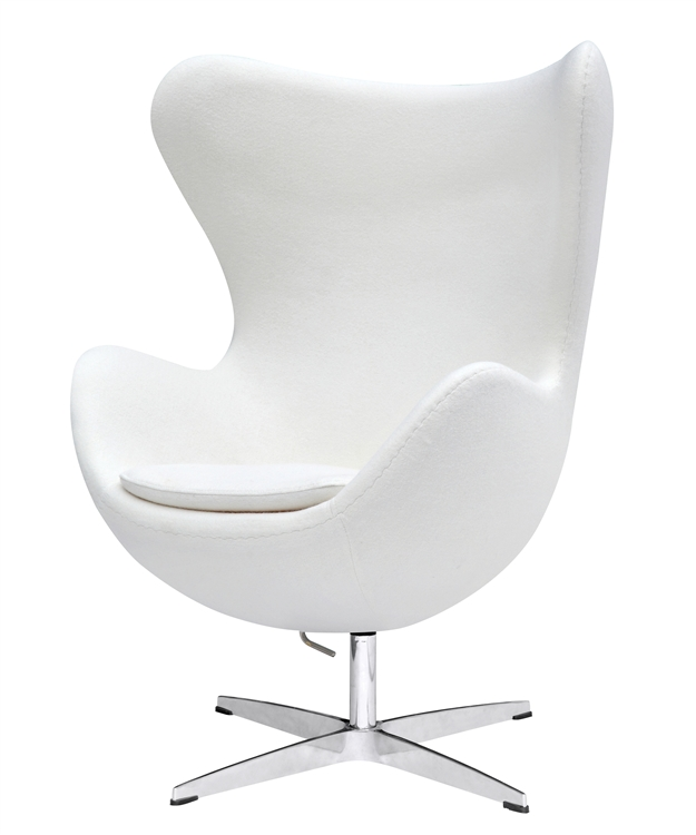 arne jacobsen egg chair in white wool. Black Bedroom Furniture Sets. Home Design Ideas