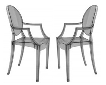 Fine Mod Imports Philippe Starck Style Louis Ghost Arm Chair Smoke