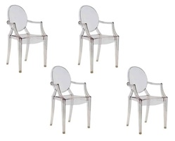 Fine Mod Imports Philippe Starck Style Louis Ghost Arm Chair Set Of 4