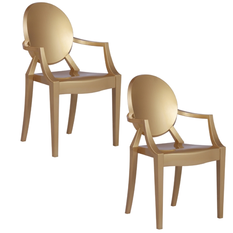Awe Inspiring Fine Mod Imports Philippe Starck Style Louis Ghost Arm Chair Set Of 2 Gold Ibusinesslaw Wood Chair Design Ideas Ibusinesslaworg