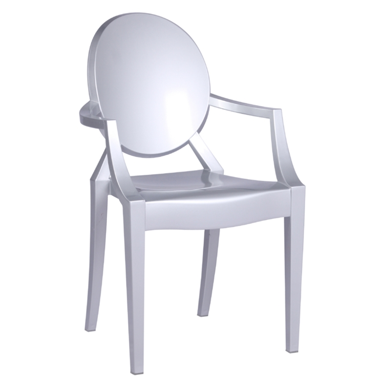 fine mod imports philippe starck style louis ghost arm chair silver