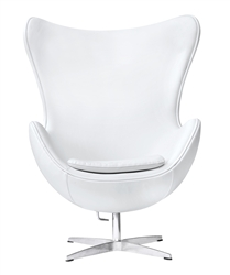 Fine Mod Imports Arne Jacobsen Egg Chair In White Leather