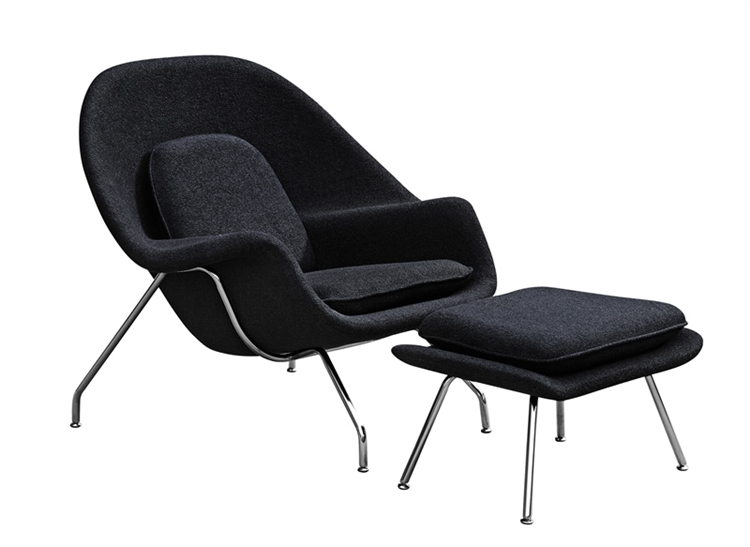 Delicieux Fine Mod Imports Eero Saarinen Style Womb Chair And Ottoman Set Black Wool