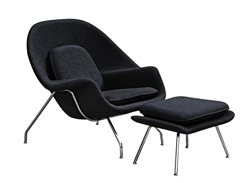 fine mod imports eero saarinen style womb chair and ottoman set black wool