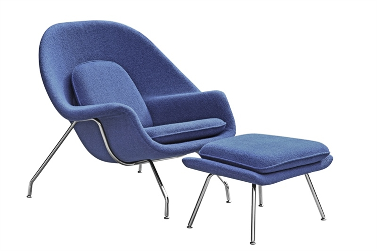 fine mod imports eero saarinen style womb chair and ottoman set blue wool