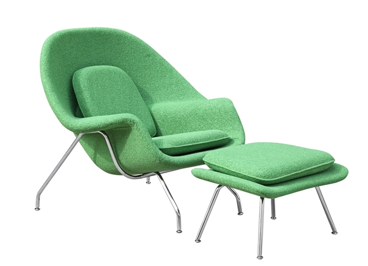 Fine Mod Imports Eero Saarinen Style Womb Chair and Ottoman Set Green Wool  sc 1 st  Instyle Modern.com & Fine Mod Imports Eero Saarinen Style Womb Chair and Ottoman Set ...