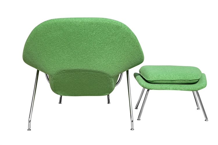 Fine Mod Imports Eero Saarinen Style Womb Chair And Ottoman Set Green Wool