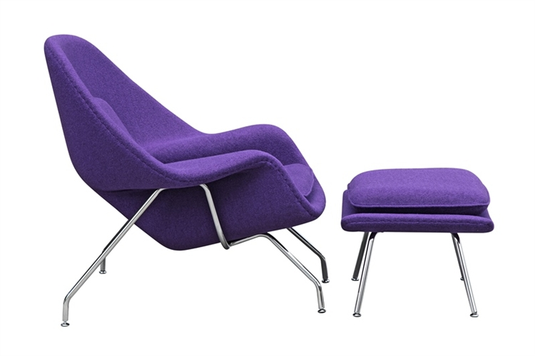 fine mod imports eero saarinen style womb chair and ottoman set purple wool