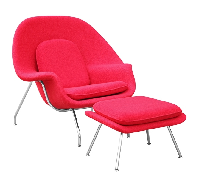 fine mod imports eero saarinen style womb chair and ottoman set red wool