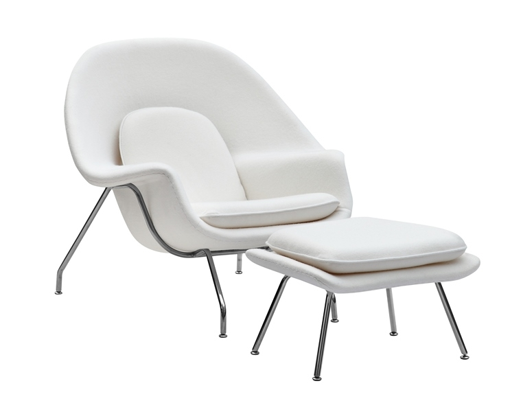 Genial Fine Mod Imports Eero Saarinen Style Womb Chair And Ottoman Set White Wool